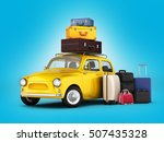 little retro car with suitcases ... | Shutterstock . vector #507435328