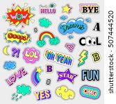 pop art set with fashion patch... | Shutterstock . vector #507444520