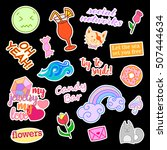 fashion patch badges with... | Shutterstock . vector #507444634