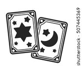 Tarot Cards Icon In Black Styl...