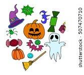 the halloween set pumpkin party ...   Shutterstock .eps vector #507470710