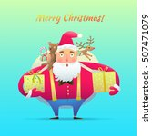 santa claus with a bag of gifts ... | Shutterstock .eps vector #507471079
