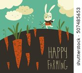 little rabbit and carrot field   Shutterstock .eps vector #507485653