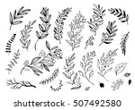 hand drawn decorative christmas ... | Shutterstock .eps vector #507492580