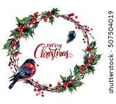 watercolor christmas wreath...   Shutterstock . vector #507504019