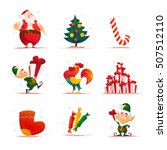 vector flat christmas elf... | Shutterstock .eps vector #507512110