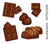 chocolate bars and pieces set | Shutterstock . vector #507521356
