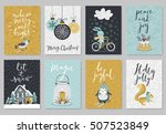 christmas card set  hand drawn... | Shutterstock .eps vector #507523849
