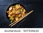 chicken yakisoba in flat lay... | Shutterstock . vector #507534610