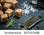 traditional fudge with sea salt ... | Shutterstock . vector #507537688