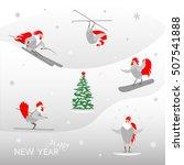 Happy New Year Text And Cartoo...