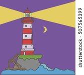 night lighthouse on island... | Shutterstock .eps vector #507565399