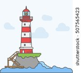 lighthouse on island coast icon ... | Shutterstock .eps vector #507565423