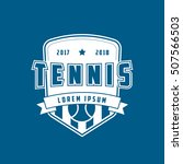 tennis emblem flat icon on blue ... | Shutterstock .eps vector #507566503
