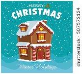 vintage christmas poster design ... | Shutterstock .eps vector #507573124