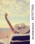woman on a tropical beach... | Shutterstock . vector #507577003