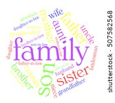 family word cloud on white... | Shutterstock .eps vector #507582568