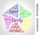 family word cloud in shape of... | Shutterstock .eps vector #507582586