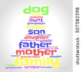 family word cloud in shape of... | Shutterstock .eps vector #507582598