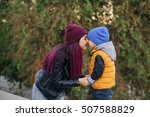 mom and 4 years old son nuzzle... | Shutterstock . vector #507588829