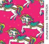 amusement park carousel horses... | Shutterstock .eps vector #507590524
