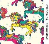 amusement park carousel horses... | Shutterstock .eps vector #507590560