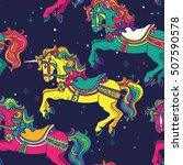amusement park carousel horses... | Shutterstock .eps vector #507590578