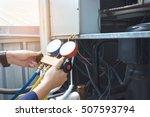 technician is checking air...   Shutterstock . vector #507593794
