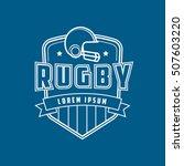 rugby helmet emblem line icon... | Shutterstock .eps vector #507603220