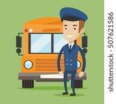 caucasian school bus driver... | Shutterstock .eps vector #507621586