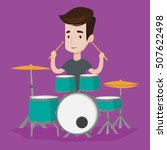 young cheerful man playing on... | Shutterstock .eps vector #507622498