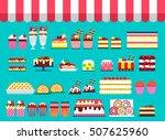 cake stand in shop illustration.... | Shutterstock .eps vector #507625960