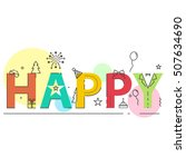 happy flat line design concept...   Shutterstock .eps vector #507634690