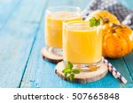 pumpkin smoothie in a glass on... | Shutterstock . vector #507665848