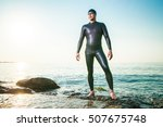 diver standing in sea waves | Shutterstock . vector #507675748