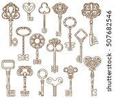 retro style door and clock keys ... | Shutterstock .eps vector #507682546