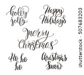 set of christmas lettering ... | Shutterstock .eps vector #507683203