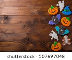 funny delicious ginger biscuits ... | Shutterstock . vector #507697048