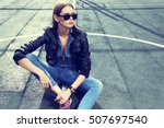 young stylish hipster woman... | Shutterstock . vector #507697540