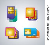 icons dual sim card isolated on ... | Shutterstock .eps vector #507698914