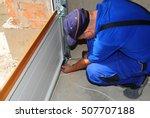 contractor installing  repair ... | Shutterstock . vector #507707188
