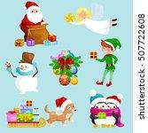 characters santa claus bag of... | Shutterstock .eps vector #507722608