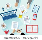 business concept. modern linear ... | Shutterstock .eps vector #507726394
