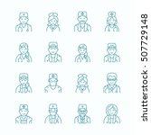 cute vector line icon of doctor.... | Shutterstock .eps vector #507729148