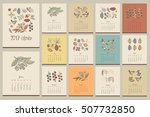 floral vintage calendar. hand... | Shutterstock .eps vector #507732850