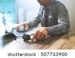 man using voip headset with... | Shutterstock . vector #507733900