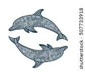 hand drawn doodle dolphin zen... | Shutterstock .eps vector #507733918