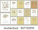 floral vintage calendar. hand... | Shutterstock .eps vector #507733990