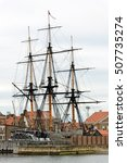 Small photo of HARTLEPOOL, UK - JUNE 30, 2016: The National Museum of the Royal Navy - NMRN, in the North of England. HMS Trincomalee, the oldest warship afloat in the world, berthed at Jackson Dock.