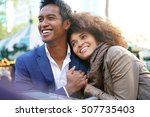 cheerful couple on a date at... | Shutterstock . vector #507735403